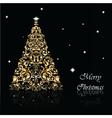 Christmas Tree set in goldon black vector image