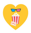 3d glasses big popcorn and ticket heart shape i vector image