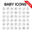 Baby toys feeding and care universal icons