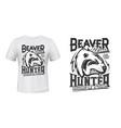 beaver print t-shirt mockup hunting club vector image vector image