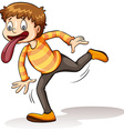Boy with a big tongue vector image vector image