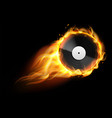 burning vinyl record realistic analog audio disc vector image vector image