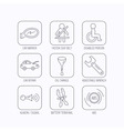 Car mirror repair oil change and wrench icons vector image vector image
