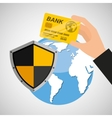card banking safe shield protection vector image vector image
