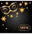Carnival invitation card with golden mask and vector image vector image