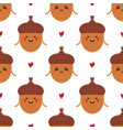 cartoon acorn characters and hearts pattern vector image vector image