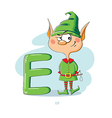 Cartoons Alphabet - Letter E with funny Elf vector image vector image
