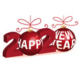christmas balls and 2020 new year gold greetings vector image vector image