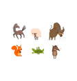 collection of funny farm and forest animals horse vector image