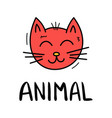 colorful doodle cat in trendy style little animal vector image vector image