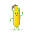 corn cartoon character isolated on white vector image vector image