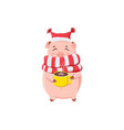 cute piggy holding cup with hot coffee isolated vector image vector image