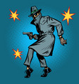 detective spy man with gun pose vector image