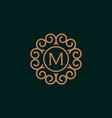 elegant monogram letter m logo design template vector image