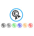 euro guarantee seal rounded icon vector image vector image