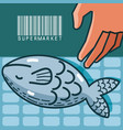 fishes sea food super market products vector image