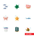 flat icon nature set of sea star medusa cancer vector image vector image