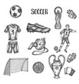 hand drawn doodle soccer set vector image