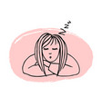 hand drawn sleeping girl vector image