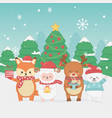 happy merry christmas card with group animals vector image vector image