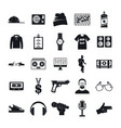 hiphop rap swag music dance icons set simple vector image