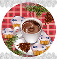 hot chocolate and muffins on vintage background vector image
