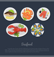 icons of seafood on a plate in flat style vector image vector image