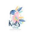 kids club logo design emblem with cute parrot can vector image vector image