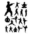 kids training karate detail silhouette vector image vector image