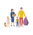 man woman and children carrying bag and box vector image