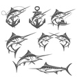 Marlin fishing emblems badges and design elements vector image vector image