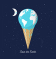 melting earth icecream cone for global warming vector image vector image