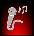 microphone with music notes vector image vector image