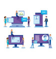 mini people with electronic devices vector image vector image