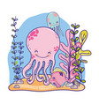 nice octopus sea animals with plants vector image vector image