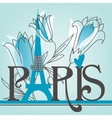Paris lettering with lilies vector image vector image