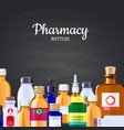 pharmacy medicine bottles background on vector image vector image