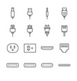 plug and socket line icon set vector image vector image