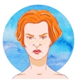 Portrait of suspicious young girl red hair vector image