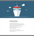 poster with cruise ship vector image vector image