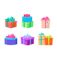 presents decorated with ribbons and bows wrapped vector image vector image