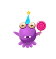 Purple Toy Monster In Party Hat Holding A Lollypop vector image vector image