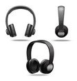realistic 3d detailed black headphones set vector image vector image