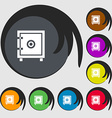 Safe money icon sign Symbols on eight colored vector image vector image
