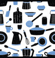 seamless pattern with black and blue kitchen vector image vector image