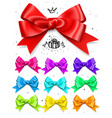set colored gift bows satin isolated glamour vector image