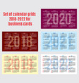 set of calendar grid for years 2018-2022 for vector image vector image
