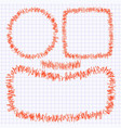 set of frames of the doodle of a red pen on a vector image