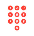 set of round 0-9 number icons vector image vector image