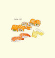 set of sushi japanese food hand drawn water vector image vector image